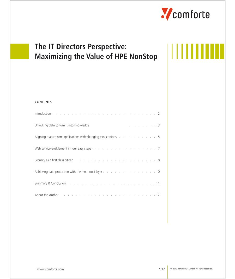 Whitepaper: The IT Directors Perspective -Maximizing the Value of HPE NonStop