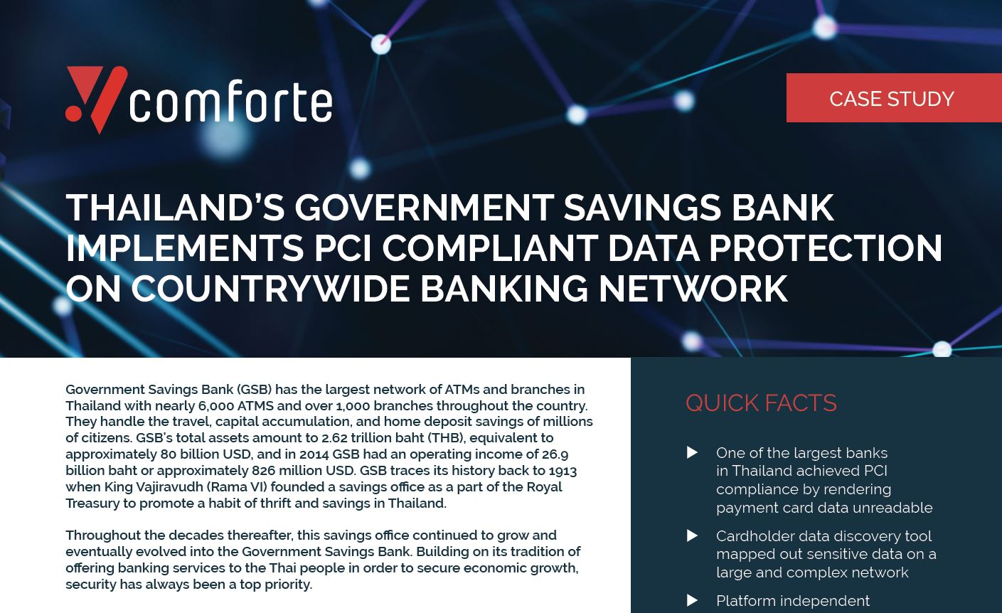 Government Savings Bank Implements PCI Compliant Data Protection