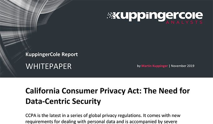 Analyst Report: California Consumer Privacy Act - The Need for Data-Centric Security
