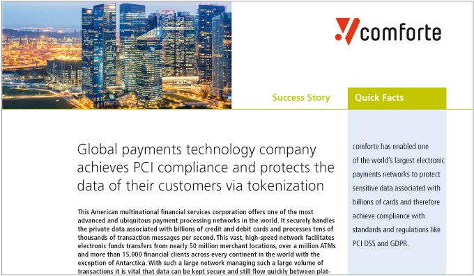 Global payments technology company achieves PCI compliance with data protection