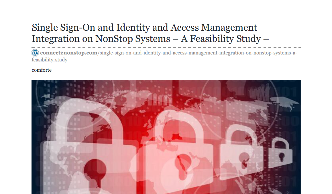 Single Sign-On and Identity and Access Management Integration on NonStop Systems - A Feasibility Study